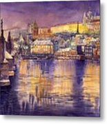 Charles Bridge And Prague Castle With The Vltava River Metal Print by Yuriy  Shevchuk