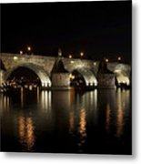 Charles Bridge At Night Metal Print by Michal Boubin