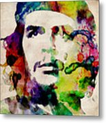 Che Guevara Urban Watercolor Metal Print by Michael Tompsett
