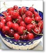 Cherries In Blue Bowl Metal Print by Carol Groenen