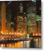 Chicago At Night Metal Print by Jeff Kolker