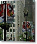 Chicago Blackhawk Flags Metal Print by Ely Arsha