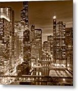 Chicago River City View B And W Metal Print by Steve gadomski