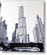 Chicago Trump Tower And Wrigley Building Metal Print by Paul Velgos