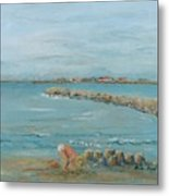 Child Playing At Provence Beach Metal Print by Nadine Rippelmeyer