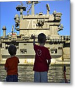 Children Wave As Uss Ronald Reagan Metal Print by Stocktrek Images