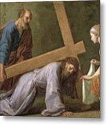 Christ Carrying The Cross Metal Print by Eustache Le Sueur