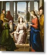 Christ Disputing With The Doctors In The Temple Metal Print by Franz von Rohden