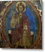 Christ Pantocrator Fresco. Basilica Saint-julien. Brioude. Haute Loire. Auvergne. France. Metal Print by Bernard Jaubert