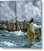 Christ Walking On The Sea Of Galilee Metal Print by Anonymous