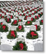 Christmas Wreaths Adorn Headstones Metal Print by Stocktrek Images