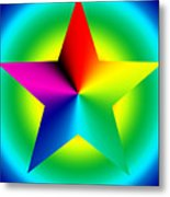 Chromatic Star With Ring Gradient Metal Print by Eric Edelman