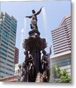 Cincinnati Fountain Tyler Davidson Genius Of Water Metal Print by Paul Velgos
