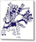 Circus Acrobats On Horse With Clown Metal Print by Barry Nelles Art