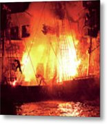 City - Vegas - Treasure Island - Explosion Abandon Ship Metal Print by Mike Savad