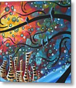 City By The Sea By Madart Metal Print by Megan Duncanson