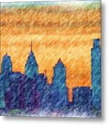 City In Pencil Metal Print by Thomas  MacPherson Jr