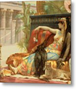 Cleopatra Testing Poisons On Those Condemned To Death Metal Print by Alexandre Cabanel