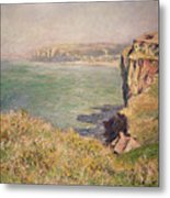 Cliff At Varengeville Metal Print by Claude Monet