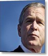 Close Up Of President George W. Bush Metal Print by Everett