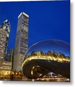 Cloud Gate The Bean Sculpture In Front Metal Print by Axiom Photographic