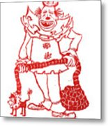 Clown With Dog Metal Print by Barry Nelles Art