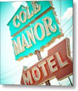 Cole Manor Motel Metal Print by David Waldo
