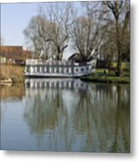 College Barge At Sandford Uk Metal Print by Mike Lester