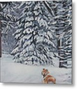 Collie Sable Christmas Tree Metal Print by Lee Ann Shepard