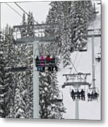Colorado Chair Lift During Winter Metal Print by Brendan Reals