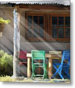 Colorful Chairs Metal Print by Sharon Foster