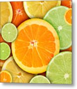 Colorful Round Citrius Fruit Background Metal Print by Angela Waye