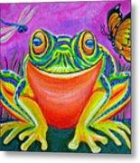Colorful Smiling Frog-voodoo Frog Metal Print by Nick Gustafson