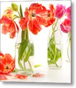 Colorful Spring Tulips In Old Milk Bottles Metal Print by Sandra Cunningham