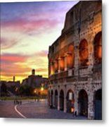 Colosseum At Sunset Metal Print by Christopher Chan