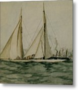 Columbia And Shamrock  America's Cup Metal Print by Edward Hopper