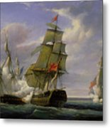 Combat Between The French Frigate La Canonniere And The English Vessel The Tremendous Metal Print by Pierre Julien Gilbert
