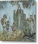 Comus Sabrina Rises Attended By Water-nymphs Metal Print by Arthur Rackman