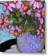 Coneflowers In Lavender Vase Metal Print by Blenda Studio