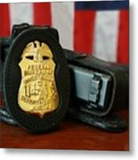Contemporary Fbi Badge And Gun Metal Print by Everett