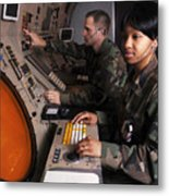 Control Technicians Use Radarscopes Metal Print by Stocktrek Images