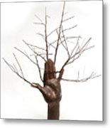 Copper Tree Hand A Sculpture By Adam Long Metal Print by Adam Long