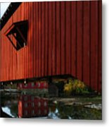 Covered Bridge Reflections Metal Print by Mel Steinhauer