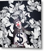 Crazy Clown Excited To Hold A Bag Of Money Metal Print by Jorgo Photography - Wall Art Gallery