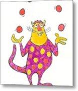 Creature Juggling Polka Dots Metal Print by Barry Nelles Art