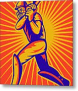 Cricket Sports Batsman Batting Metal Print by Aloysius Patrimonio