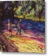Crossing The Stream Metal Print by Carolyn Doe