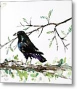 Crow On Branch Metal Print by Carolyn Doe