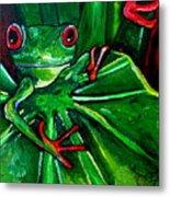 Curious Tree Frog Metal Print by Patti Schermerhorn