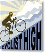 Cyclist Racing Bike Metal Print by Aloysius Patrimonio